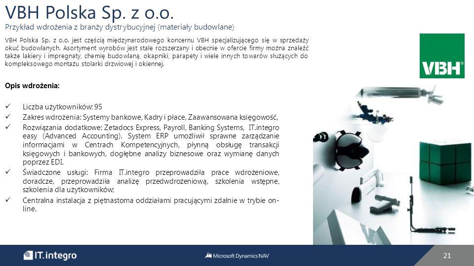 VBH Polska Sp. z o.o. Przykład wdrożenia z branży dystrybucyjnej (materiały budowlane)