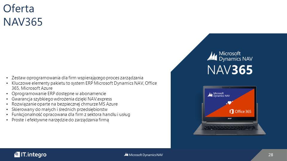 Oferta NAV365. Zestaw oprogramowania dla firm wspierającego proces zarządzania.
