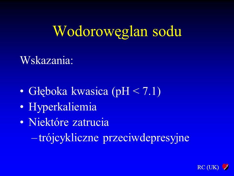 Wodorowęglan sodu Wskazania: Głęboka kwasica (pH < 7.1)