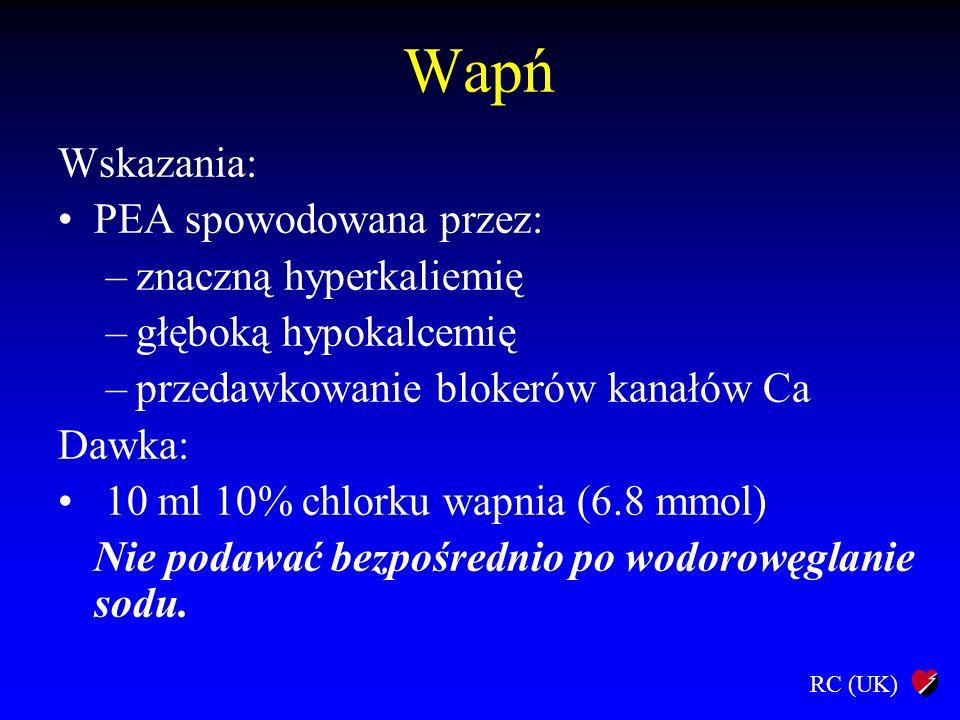 Wapń Wskazania: PEA spowodowana przez: znaczną hyperkaliemię