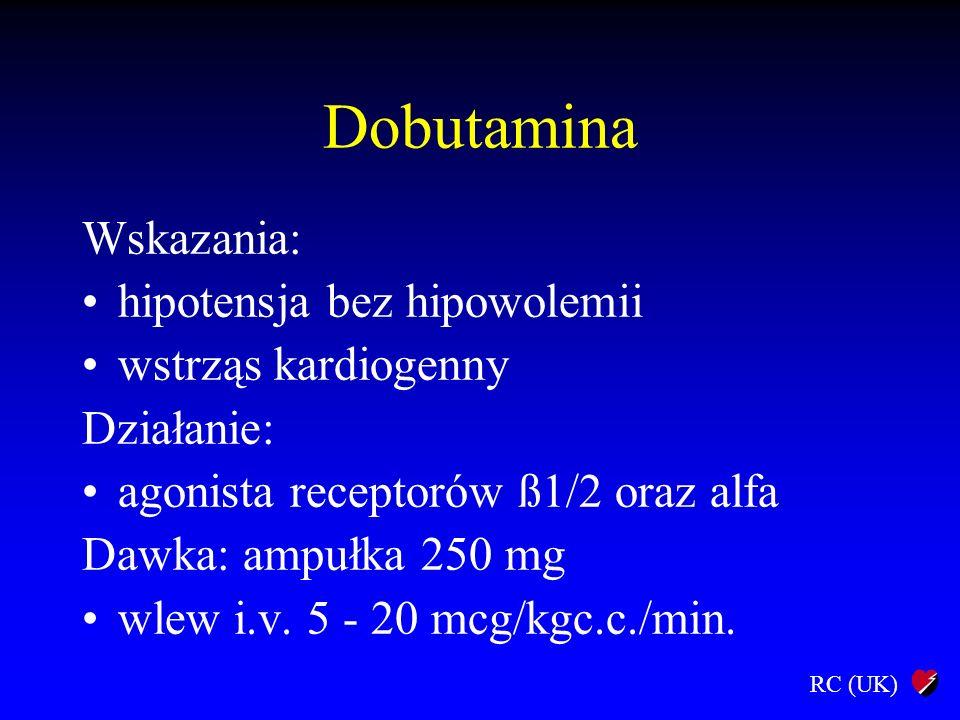 Dobutamina Wskazania: hipotensja bez hipowolemii wstrząs kardiogenny