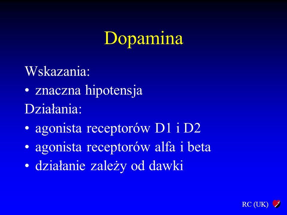 Dopamina Wskazania: znaczna hipotensja Działania: