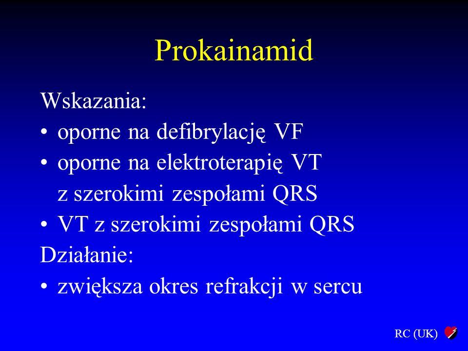 Prokainamid Wskazania: oporne na defibrylację VF