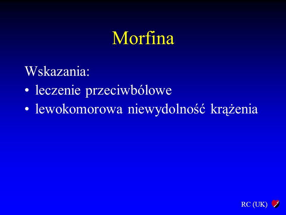Morfina Wskazania: leczenie przeciwbólowe