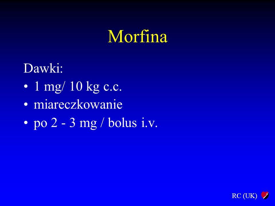 Morfina Dawki: 1 mg/ 10 kg c.c. miareczkowanie