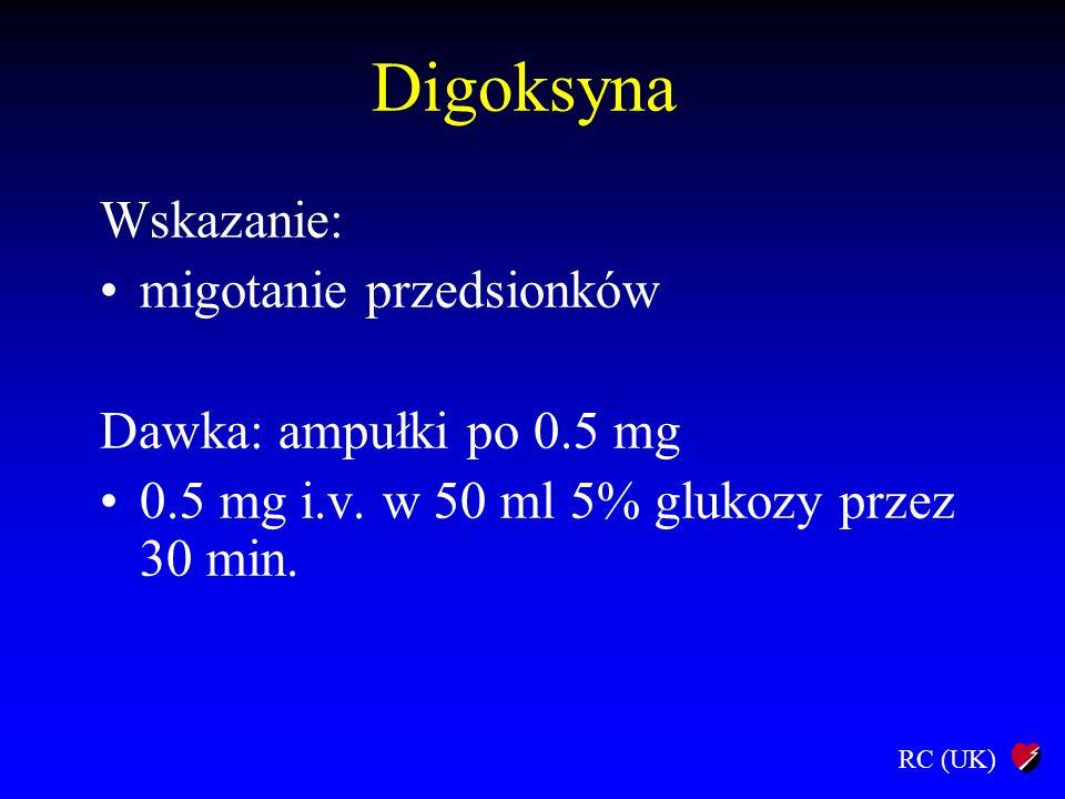 Digoksyna Wskazanie: migotanie przedsionków Dawka: ampułki po 0.5 mg