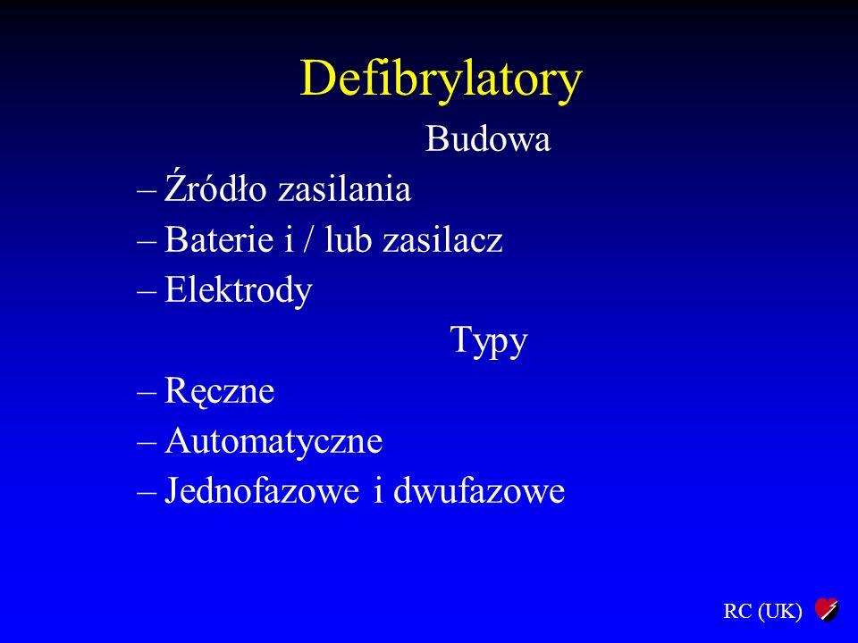 Defibrylatory Budowa Źródło zasilania Baterie i / lub zasilacz