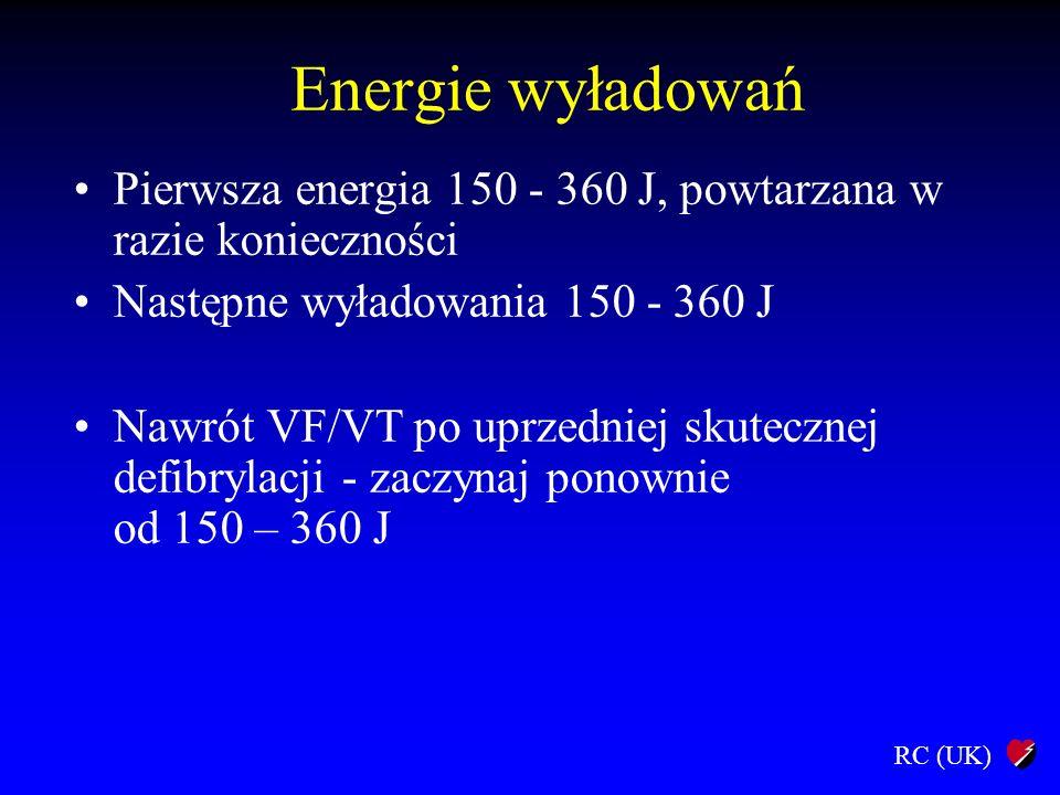 Energie wyładowań Pierwsza energia 150 - 360 J, powtarzana w razie konieczności. Następne wyładowania 150 - 360 J.