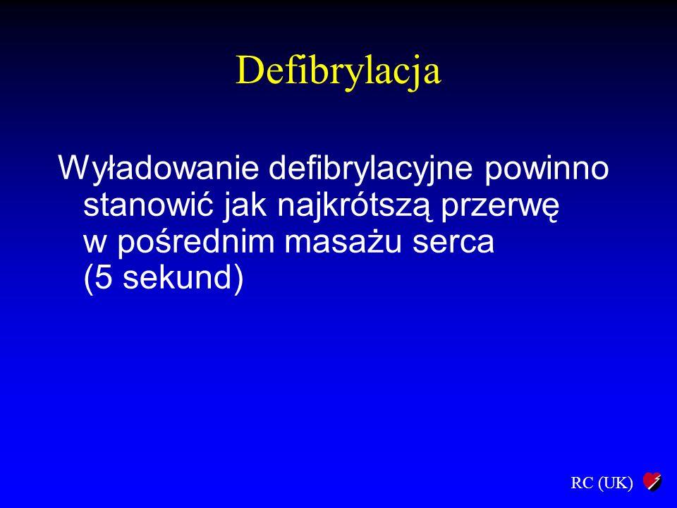 Defibrylacja Wyładowanie defibrylacyjne powinno stanowić jak najkrótszą przerwę w pośrednim masażu serca (5 sekund)