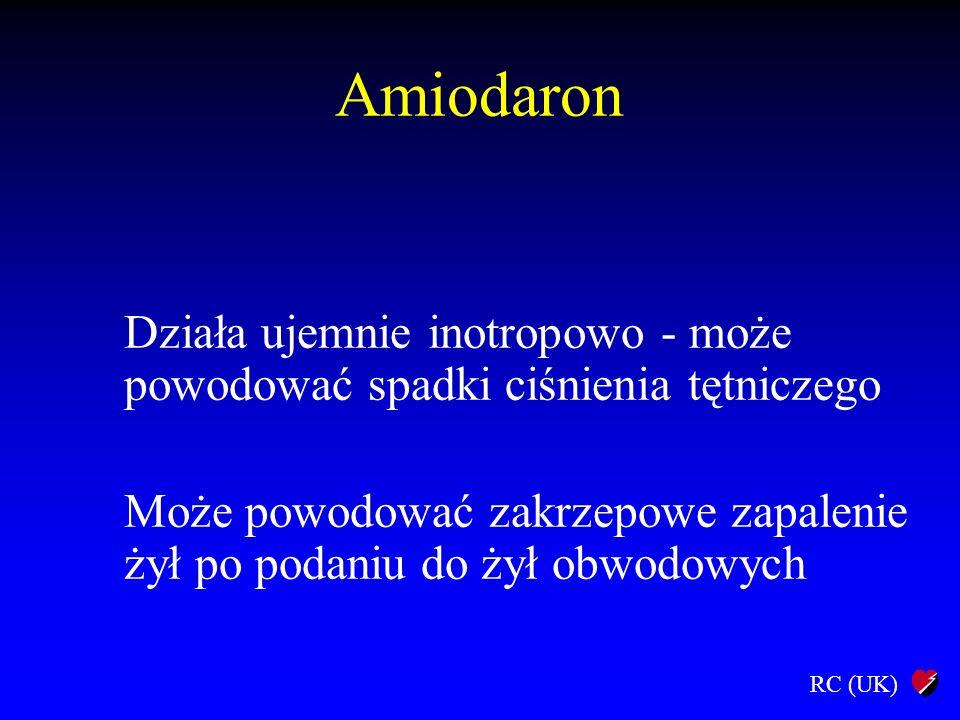 Amiodaron Działa ujemnie inotropowo - może powodować spadki ciśnienia tętniczego.