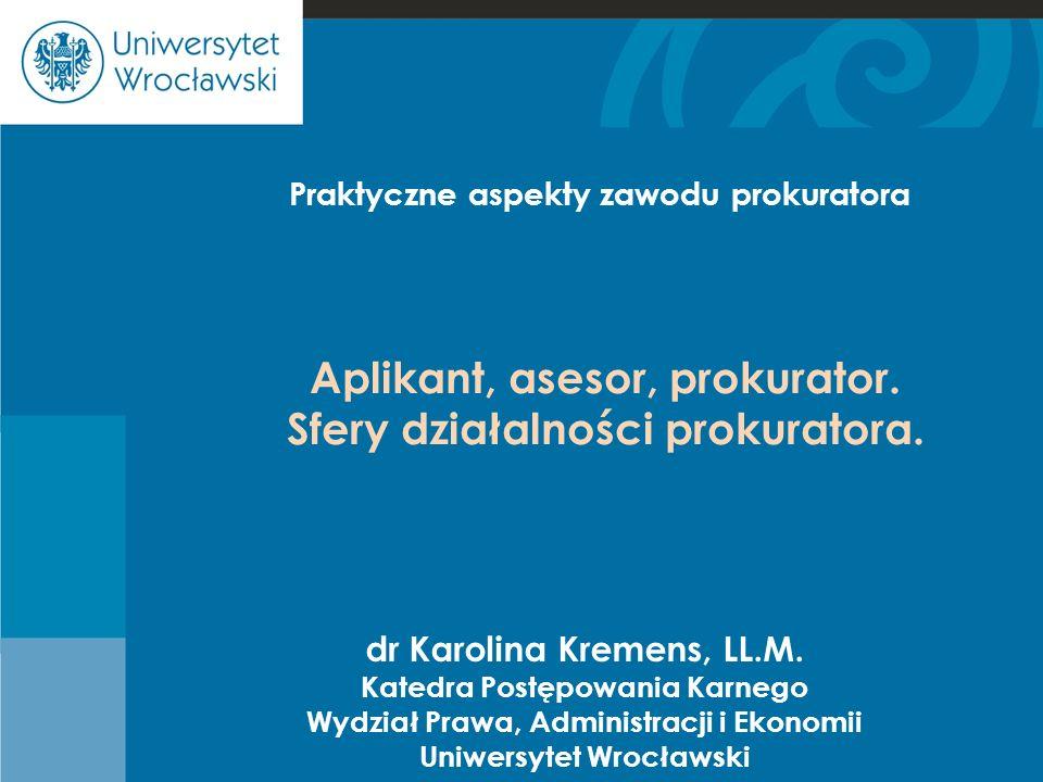 Cje Aplikant, asesor, prokurator. Sfery działalności prokuratora.