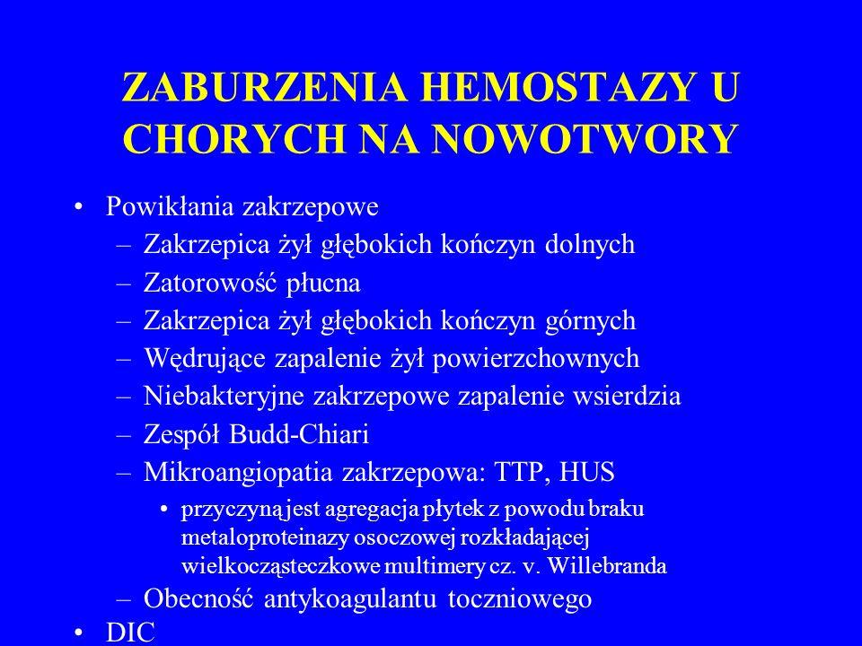 ZABURZENIA HEMOSTAZY U CHORYCH NA NOWOTWORY