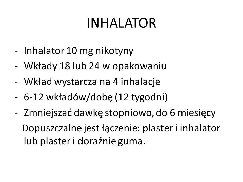 INHALATOR Inhalator 10 mg nikotyny Wkłady 18 lub 24 w opakowaniu