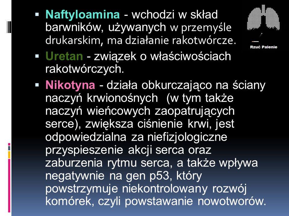 Naftyloamina - wchodzi w skład barwników, używanych w przemyśle drukarskim, ma działanie rakotwórcze.