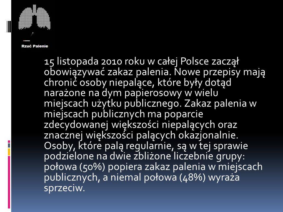 15 listopada 2010 roku w całej Polsce zaczął obowiązywać zakaz palenia