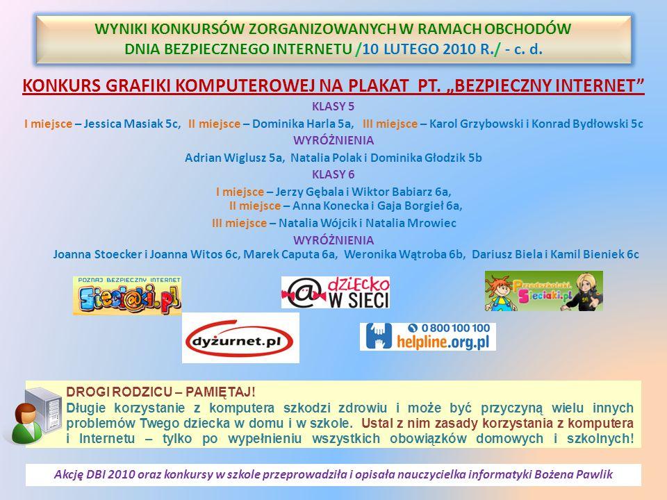 """KONKURS GRAFIKI KOMPUTEROWEJ NA PLAKAT PT. """"BEZPIECZNY INTERNET"""