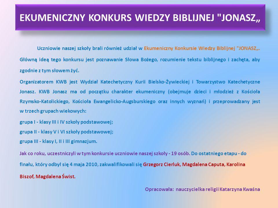 """EKUMENICZNY KONKURS WIEDZY BIBLIJNEJ JONASZ"""""""