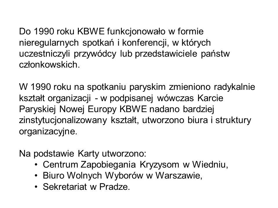 Do 1990 roku KBWE funkcjonowało w formie nieregularnych spotkań i konferencji, w których uczestniczyli przywódcy lub przedstawiciele państw członkowskich.