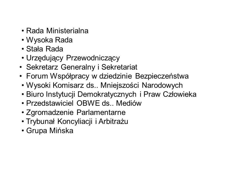 • Rada Ministerialna • Wysoka Rada • Stała Rada • Urzędujący Przewodniczący • Sekretarz Generalny i Sekretariat • Forum Współpracy w dziedzinie Bezpieczeństwa • Wysoki Komisarz ds..