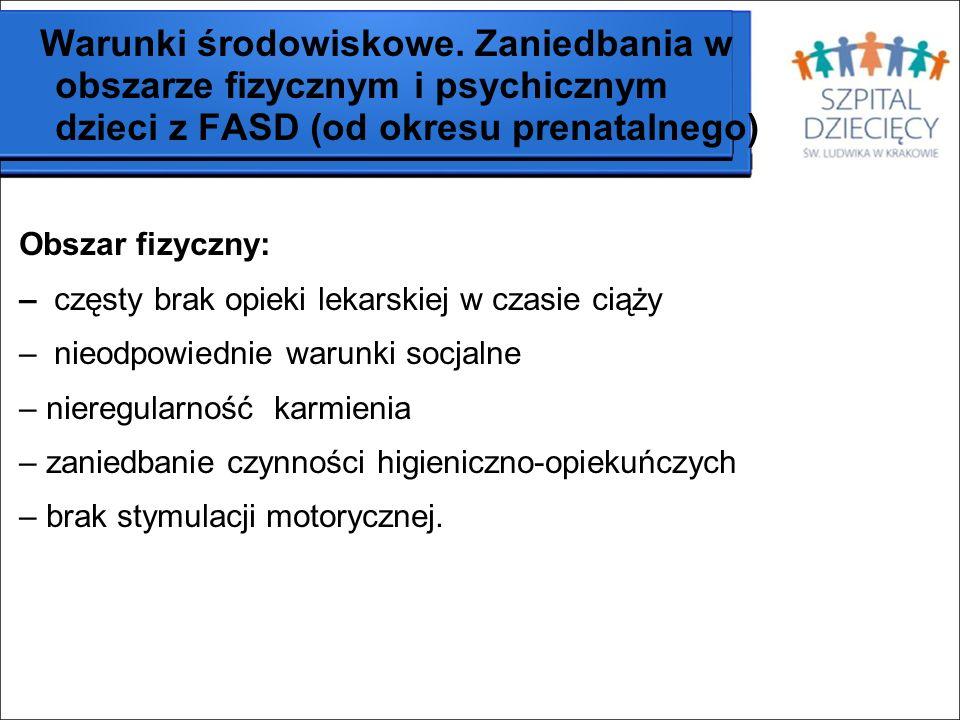 Warunki środowiskowe. Zaniedbania w obszarze fizycznym i psychicznym dzieci z FASD (od okresu prenatalnego)