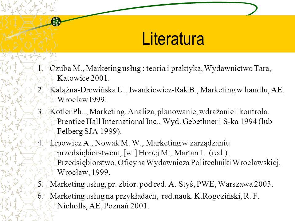 Literatura 1. Czuba M., Marketing usług : teoria i praktyka, Wydawnictwo Tara, Katowice 2001.