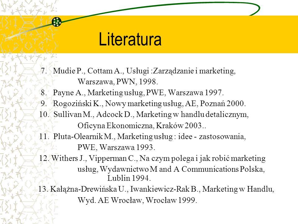 Literatura 7. Mudie P., Cottam A., Usługi :Zarządzanie i marketing,