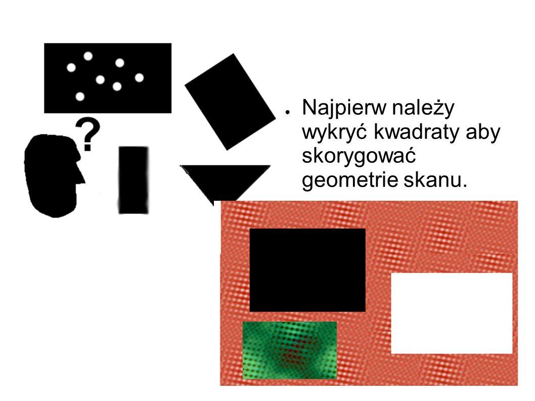 Najpierw należy wykryć kwadraty aby skorygować geometrie skanu.