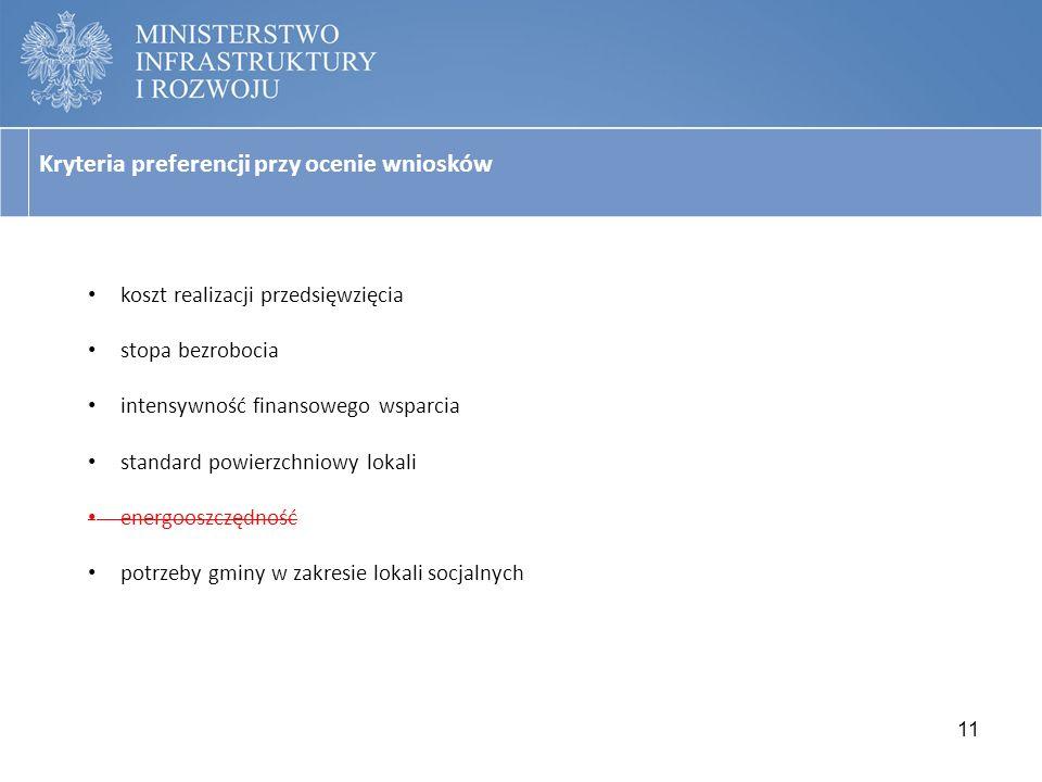 Kryteria preferencji przy ocenie wniosków