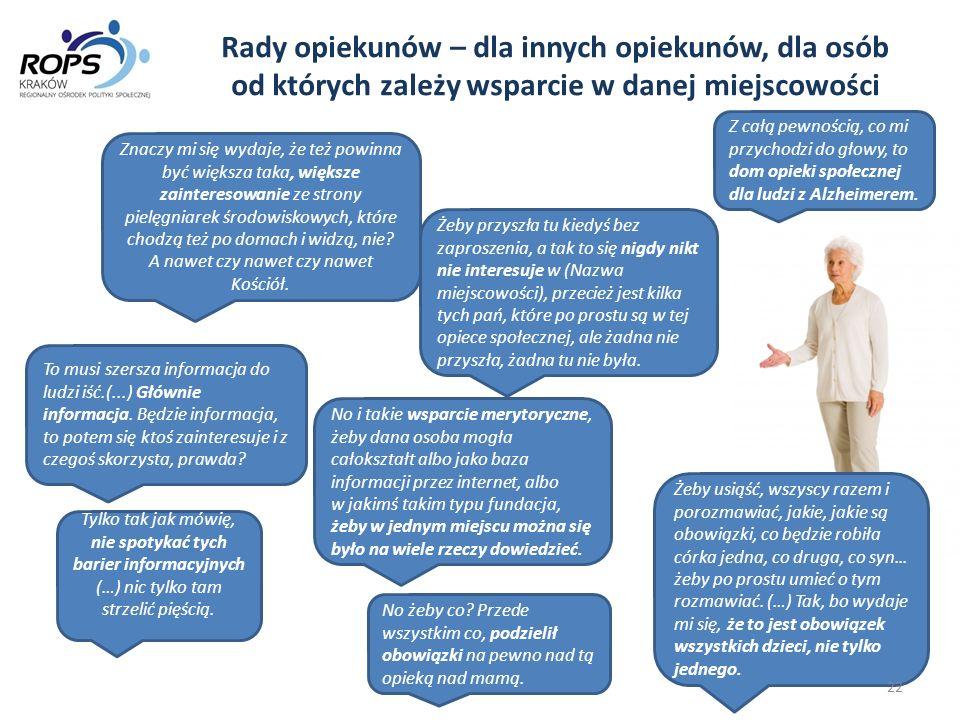 Rady opiekunów – dla innych opiekunów, dla osób od których zależy wsparcie w danej miejscowości