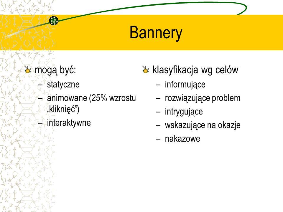 Bannery mogą być: klasyfikacja wg celów statyczne