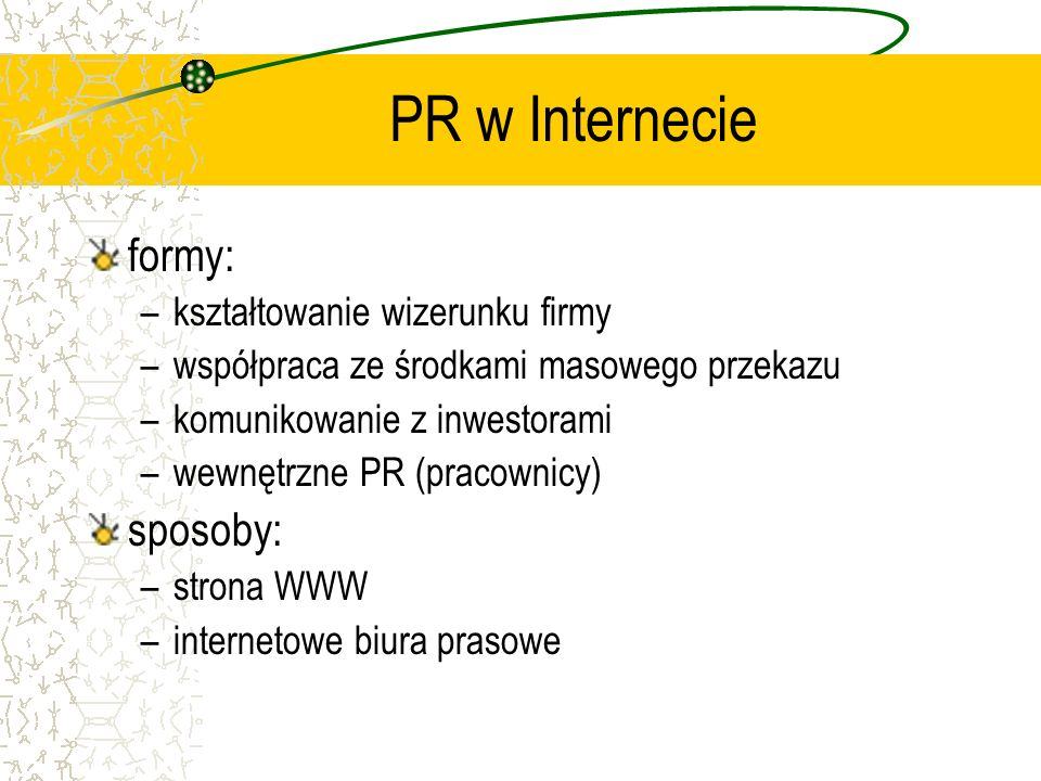PR w Internecie formy: sposoby: kształtowanie wizerunku firmy
