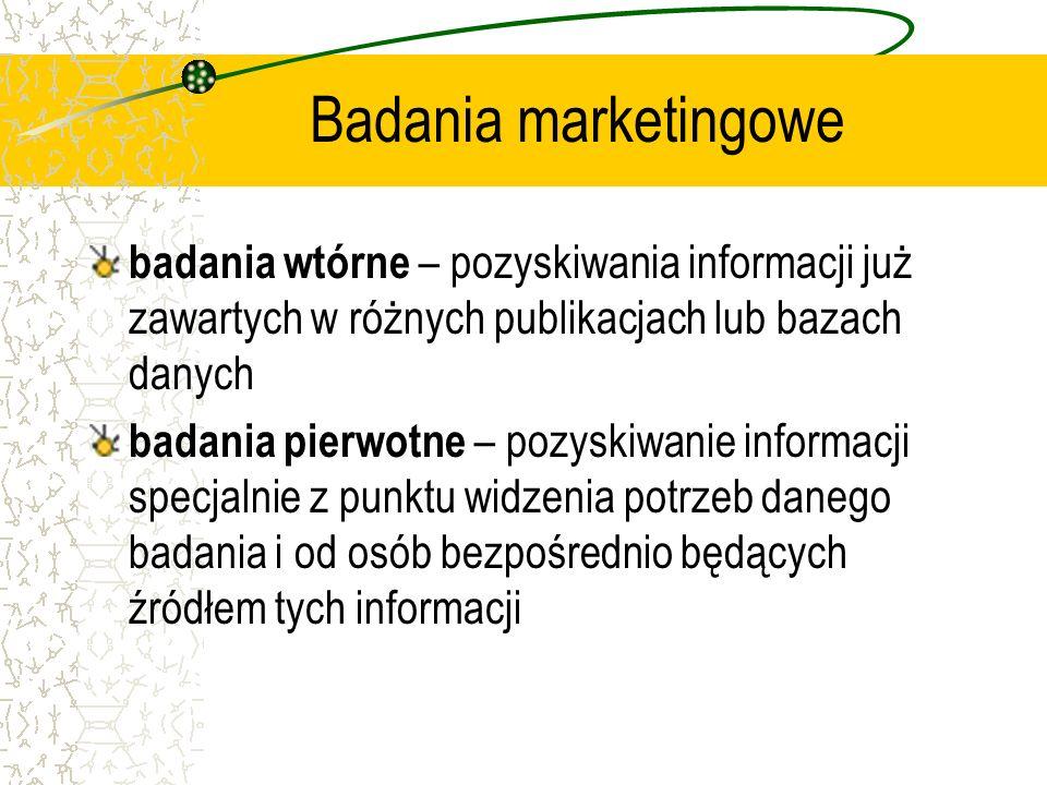 Badania marketingowe badania wtórne – pozyskiwania informacji już zawartych w różnych publikacjach lub bazach danych.