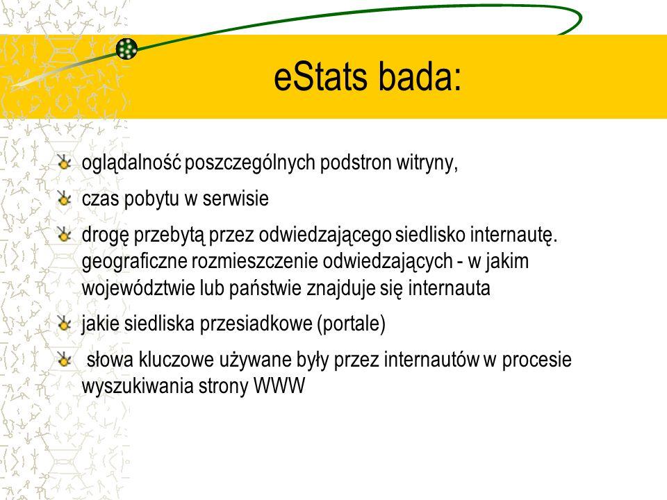 eStats bada: oglądalność poszczególnych podstron witryny,