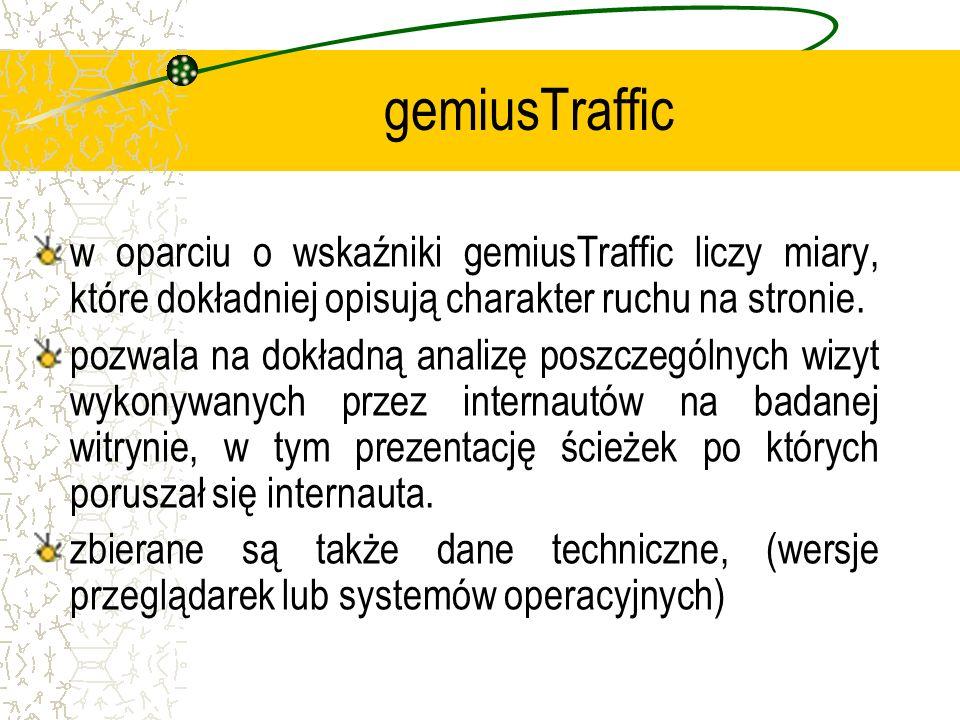 gemiusTraffic w oparciu o wskaźniki gemiusTraffic liczy miary, które dokładniej opisują charakter ruchu na stronie.