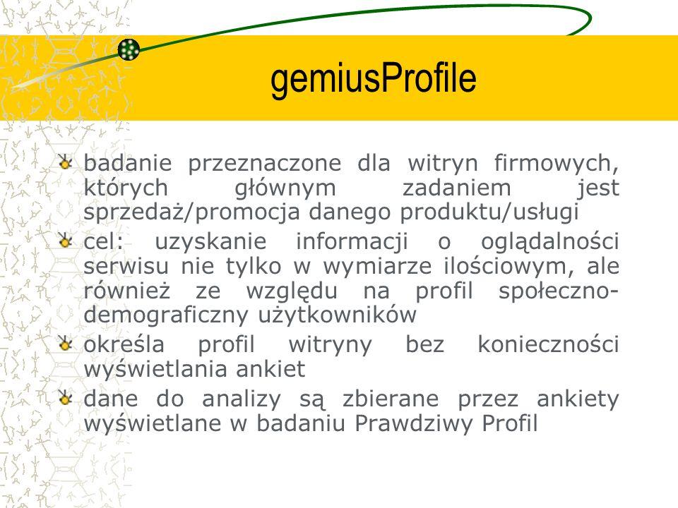 gemiusProfile badanie przeznaczone dla witryn firmowych, których głównym zadaniem jest sprzedaż/promocja danego produktu/usługi.