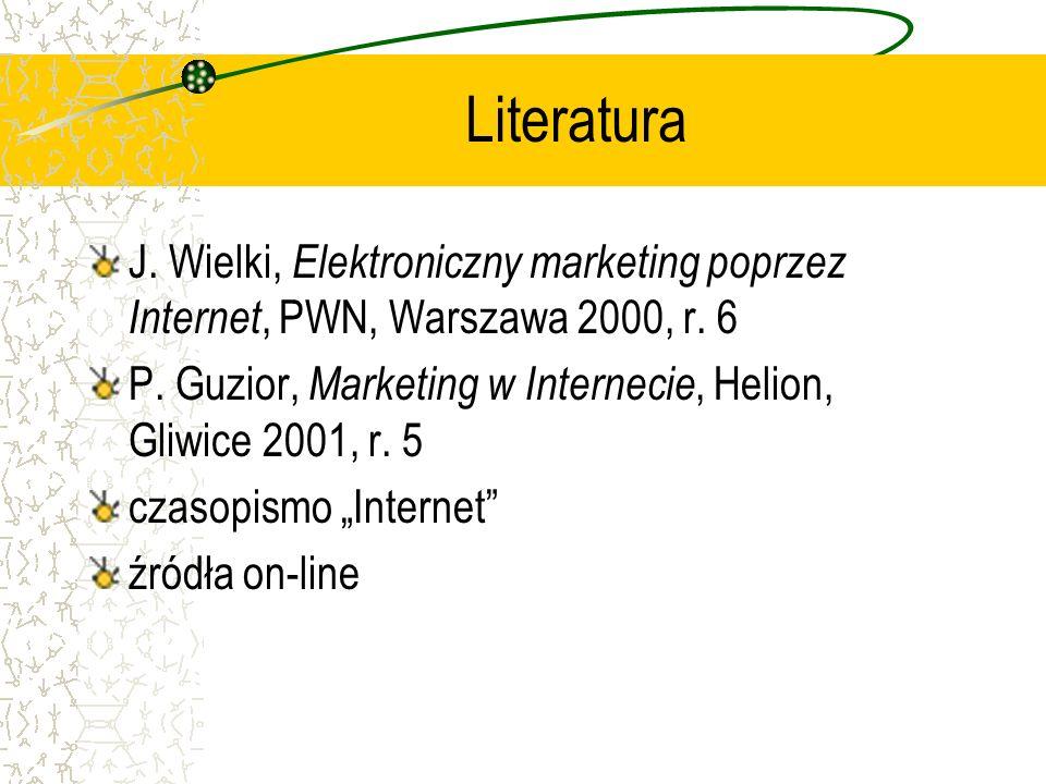 Literatura J. Wielki, Elektroniczny marketing poprzez Internet, PWN, Warszawa 2000, r. 6.