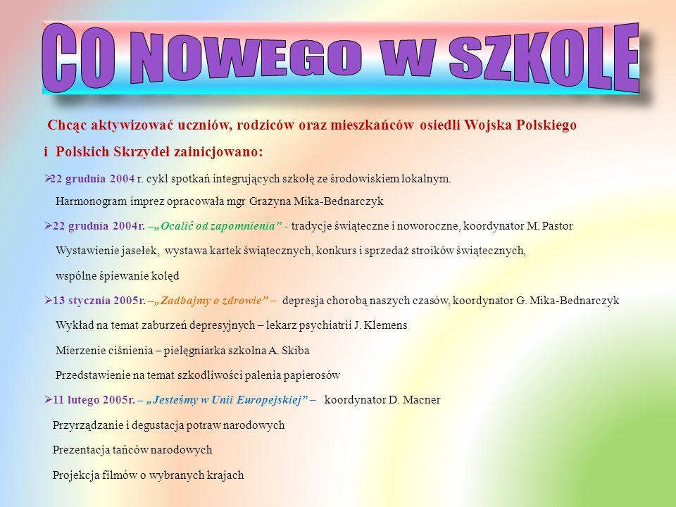 CO NOWEGO W SZKOLE Chcąc aktywizować uczniów, rodziców oraz mieszkańców osiedli Wojska Polskiego i Polskich Skrzydeł zainicjowano: