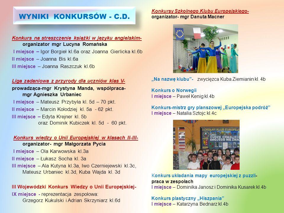 WYNIKI KONKURSÓW - C.D. Konkursy Szkolnego Klubu Europejskiego- organizator- mgr Danuta Macner.