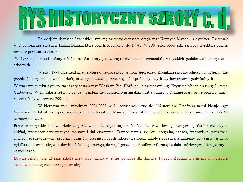 RYS HISTORYCZNY SZKOŁY c. d.