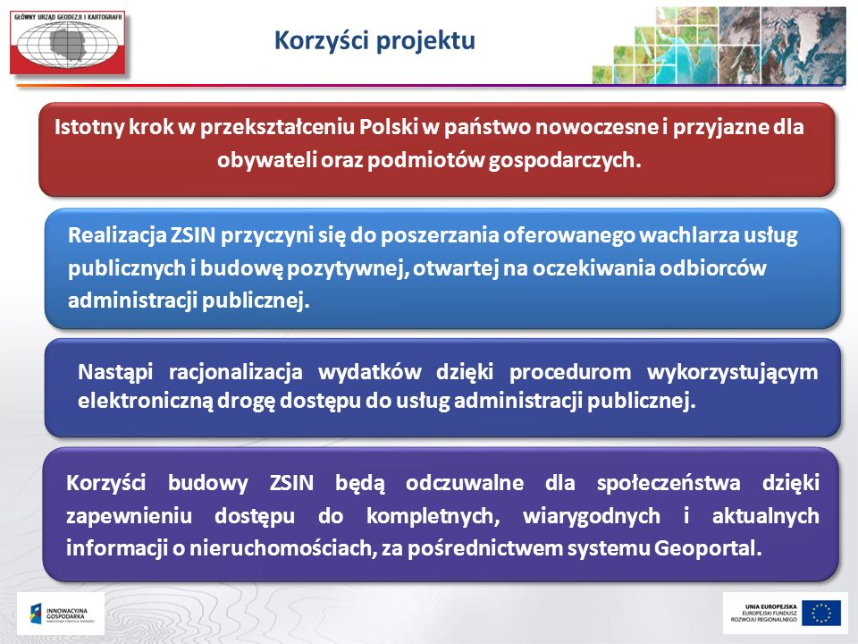Korzyści projektu Istotny krok w przekształceniu Polski w państwo nowoczesne i przyjazne dla obywateli oraz podmiotów gospodarczych.