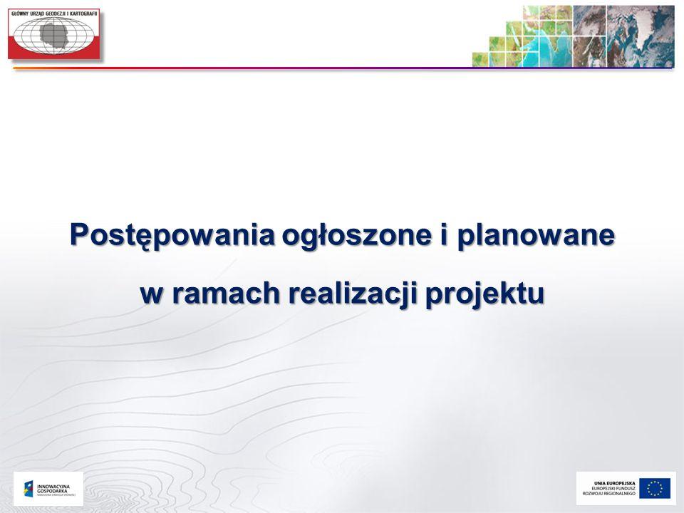 Postępowania ogłoszone i planowane w ramach realizacji projektu