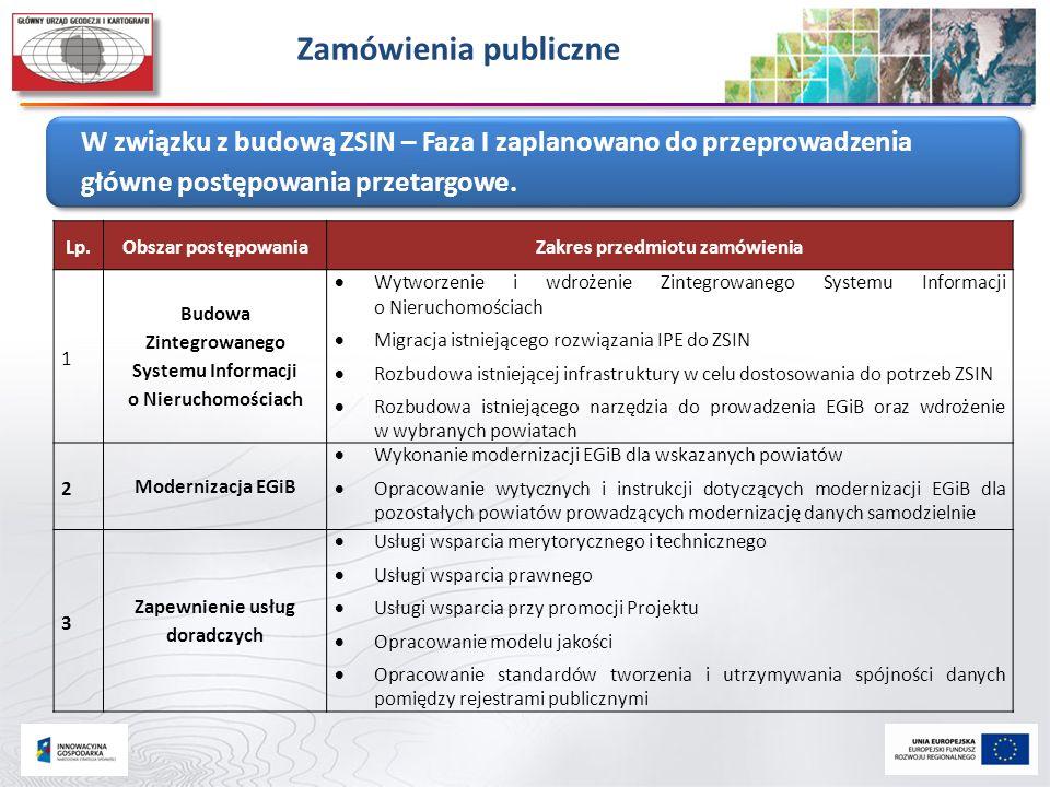 Zamówienia publiczne W związku z budową ZSIN – Faza I zaplanowano do przeprowadzenia główne postępowania przetargowe.