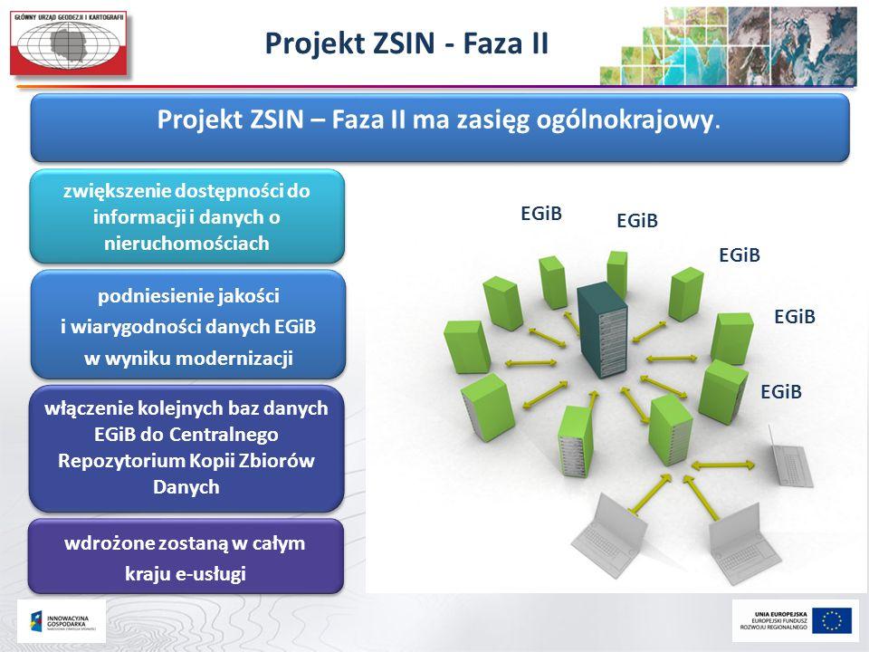 Projekt ZSIN - Faza II Projekt ZSIN – Faza II ma zasięg ogólnokrajowy.