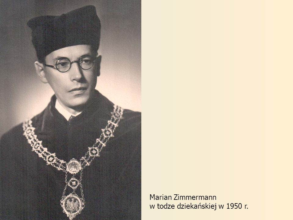 Marian Zimmermann w todze dziekańskiej w 1950 r.
