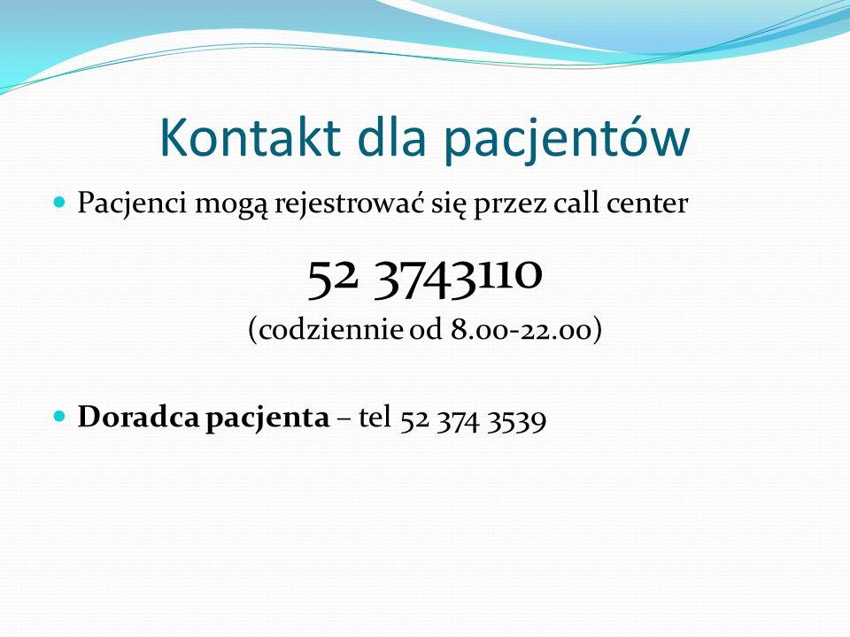 Kontakt dla pacjentów Pacjenci mogą rejestrować się przez call center. 52 3743110. (codziennie od 8.00-22.00)