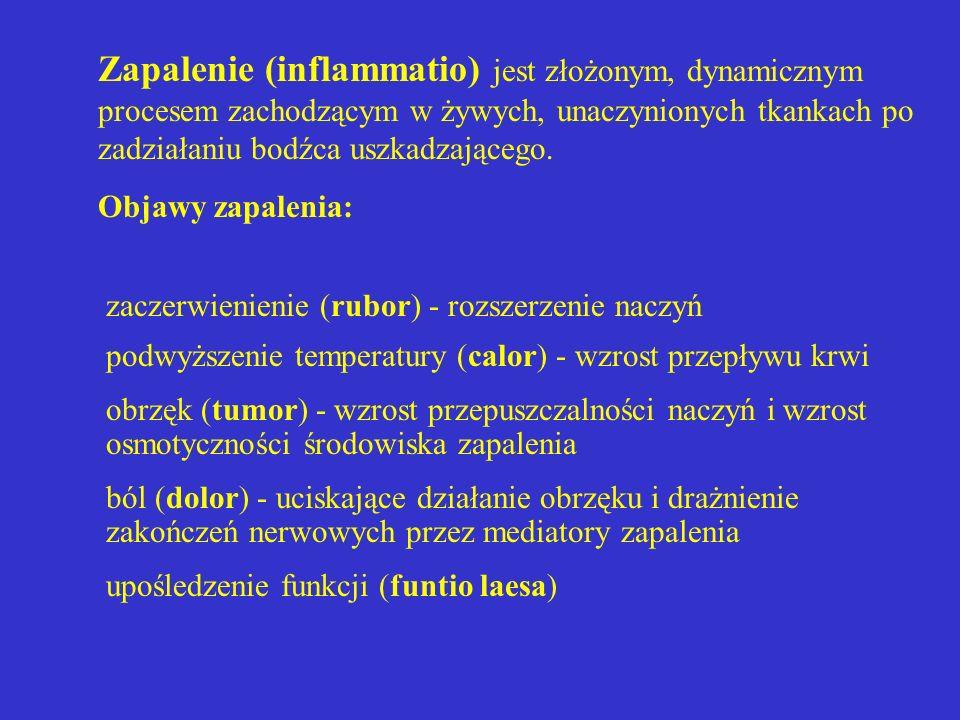 Zapalenie (inflammatio) jest złożonym, dynamicznym procesem zachodzącym w żywych, unaczynionych tkankach po zadziałaniu bodźca uszkadzającego.