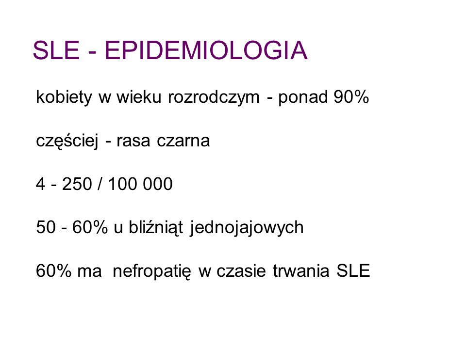 SLE - EPIDEMIOLOGIA kobiety w wieku rozrodczym - ponad 90%