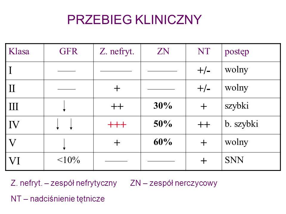 PRZEBIEG KLINICZNY I +/- II + III ++ IV +++ V VI Klasa GFR Z. nefryt.