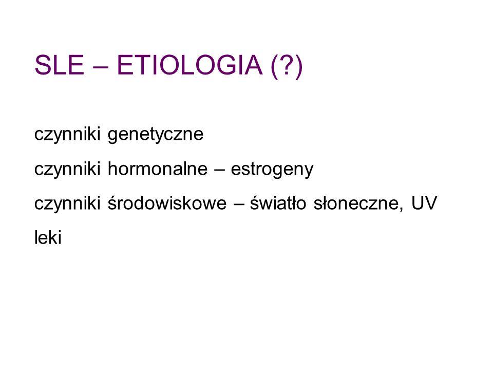 SLE – ETIOLOGIA ( ) czynniki genetyczne