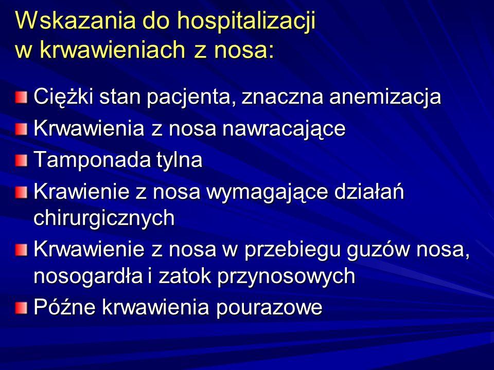 Wskazania do hospitalizacji w krwawieniach z nosa: